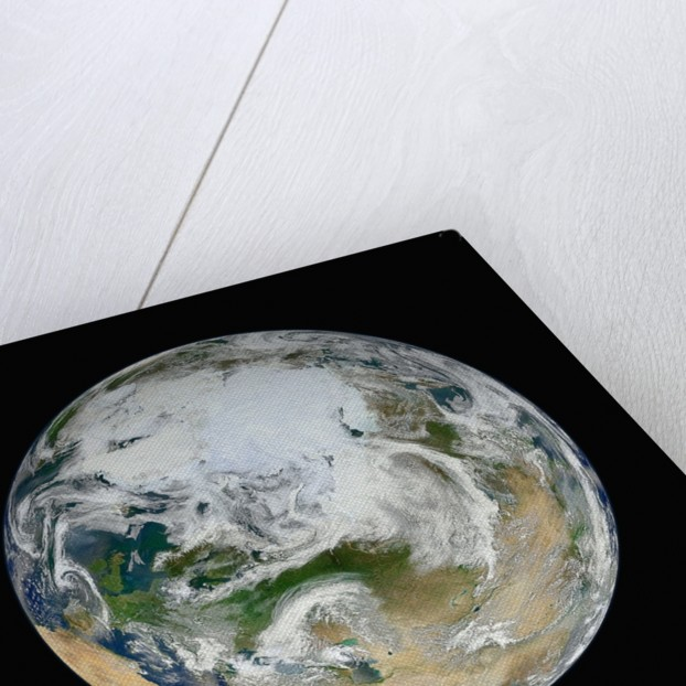 Composite Satellite View of Earth from the North Pole by Corbis