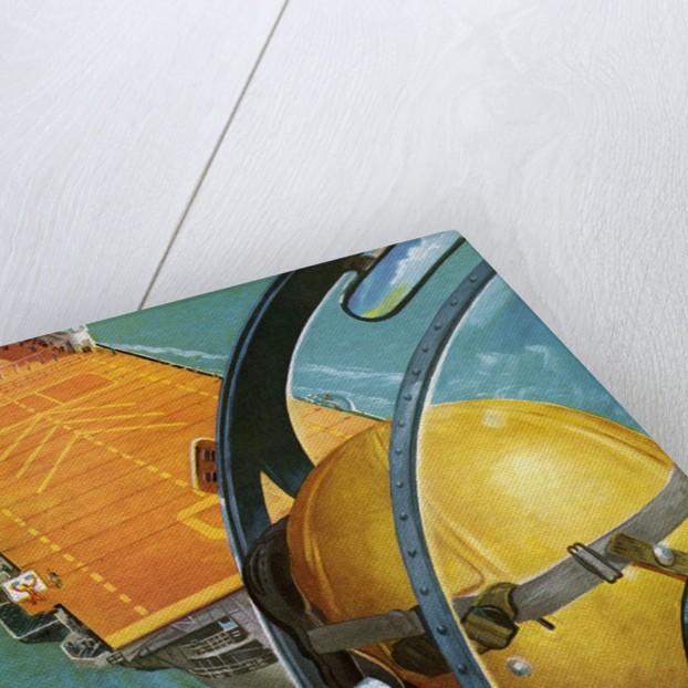 Pilot's View of a Plane Landing on an Aircraft Carrier by Corbis