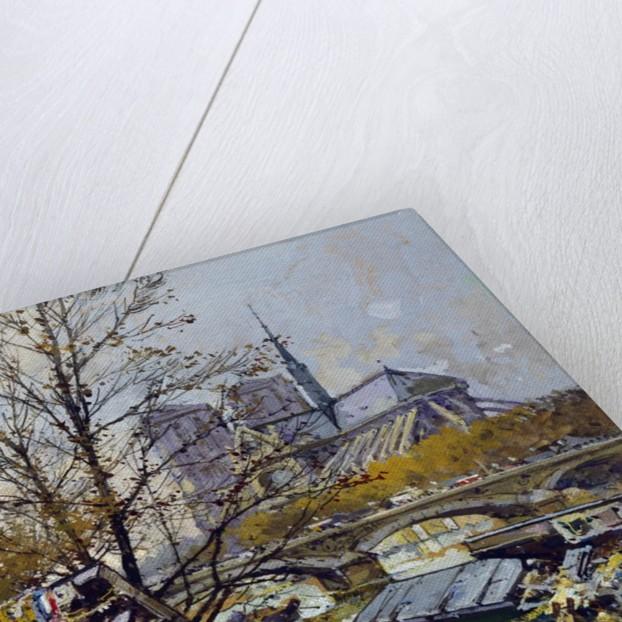 The Rive Gauche, Paris with Notre Dame Beyond by Eugene Galien-Laloue