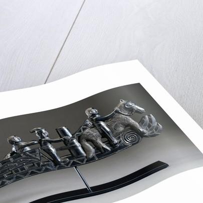 A Haida argillite ship pipe depicting a ship, an equestrian scene and various scroll and foliate motifs by Corbis