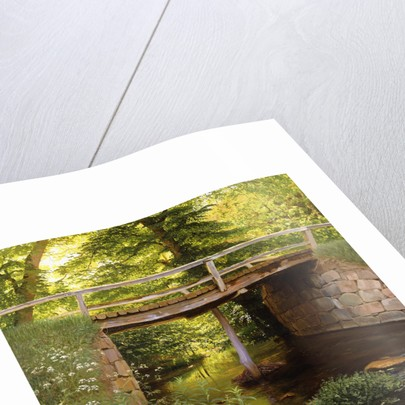 A Forest Stream with a Wooden Bridge by Marcus Bech Fritz