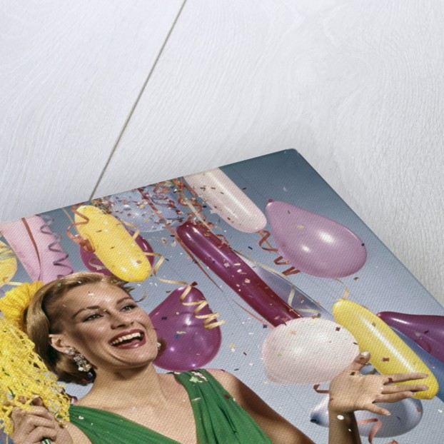 1960 1960s Retro Party New Year Balloons Woman Streamers Dress Happy by Corbis