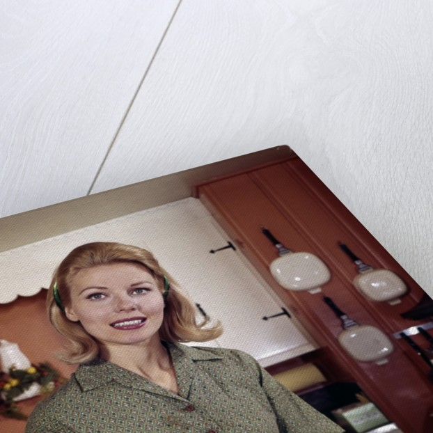 1960s Portrait Young Blonde Woman Housewife In Kitchen Smiling Looking At Camera by Corbis