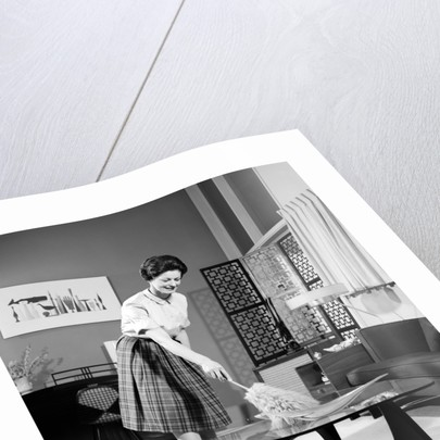 1950s 1960s Woman Wearing A White Blouse & Plaid Skirt Dusting With A Feather Duster A Glass Top Coffee Table by Corbis