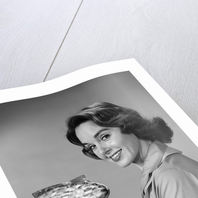 1950s 1960s Smiling Woman Holding Freshly Baked Pie Looking At Camera by Corbis