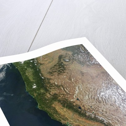 Satellite image of Oregon and California by Corbis