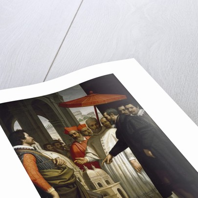 Michelangelo presenting the model for the completion of St Peter's to Pope Pius IV by Domenico Cresti