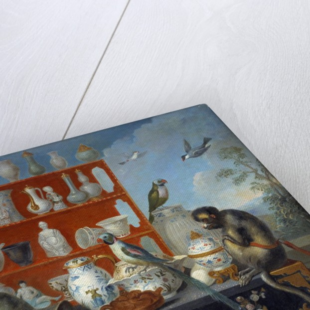 Still life with porcelain dishes, monkeys and birds by Corbis