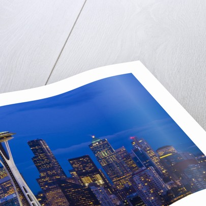 Night View of Seattle Skyline with Christmas Tree on the Space Needle by Corbis