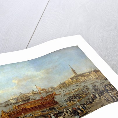 Departure of the Bucentaur to the Venice's Lido by Francesco Guardi