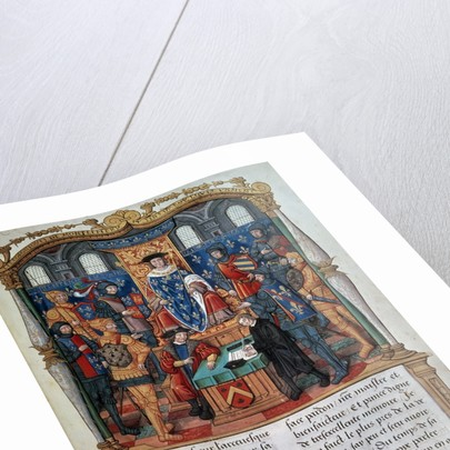 Philippe de Commines dictating his Memoirs before Louis XI by Corbis