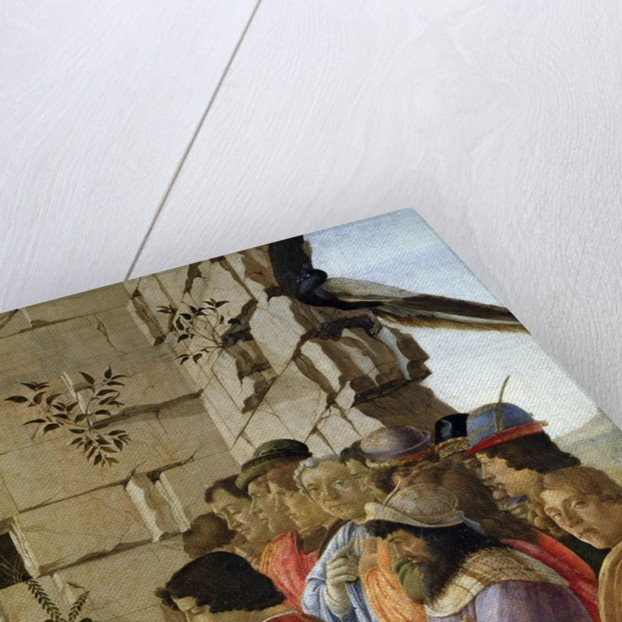 Detail of The Adoration of the Magi showing self-portrait by Sandro Botticelli