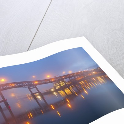 sunrise thru morning fog along willamitte river and Marquam Bridge,Portland, Oregon by Corbis