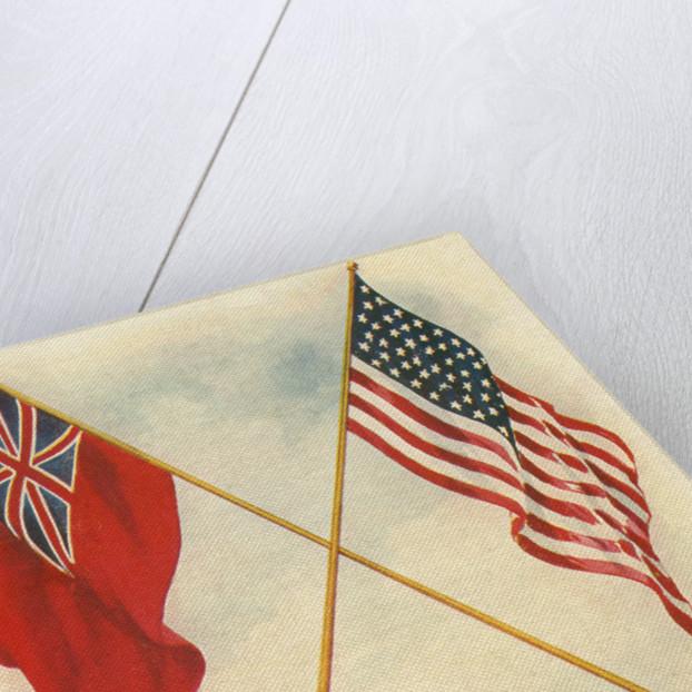 Postcard of Handshake and Flags Across the Ocean by Corbis