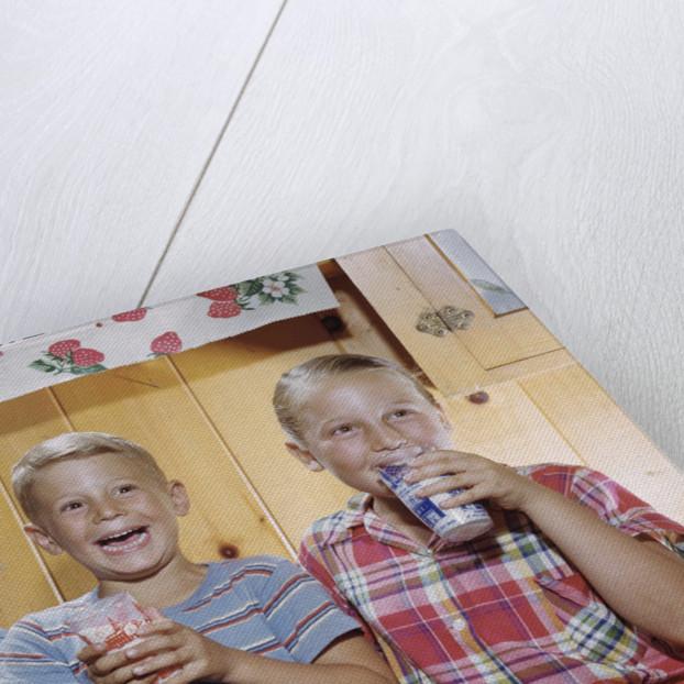 Happy Children Enjoying Glass of Cold Milk by Corbis