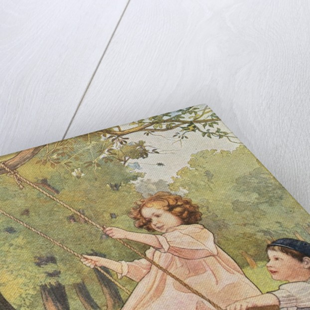 Book Illustration Depicting a Boy Pushing a Girl on a Swing by Corbis