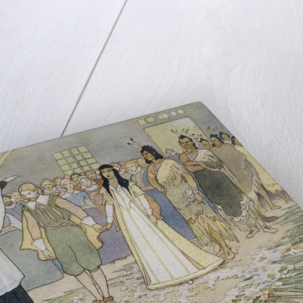 Illustration of the Marriage of Pocahontas and John Rolfe by E. Boyd Smith