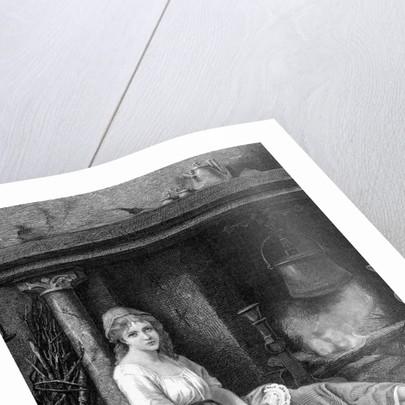 Illustration of Cinderella sitting in the corner by Corbis