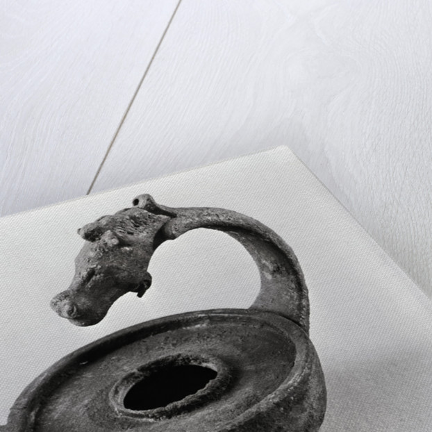 Ancient Egyptian Horse Head-Shaped Oil Lamp by Corbis