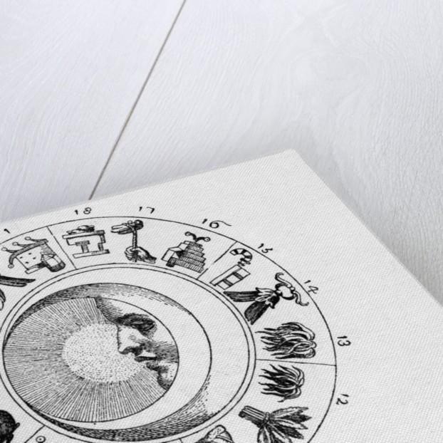 Engraving Of Aztec Calendar by Corbis