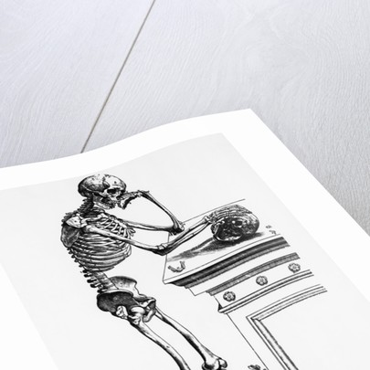 Print of a Skeleton Contemplating a Skull by Corbis
