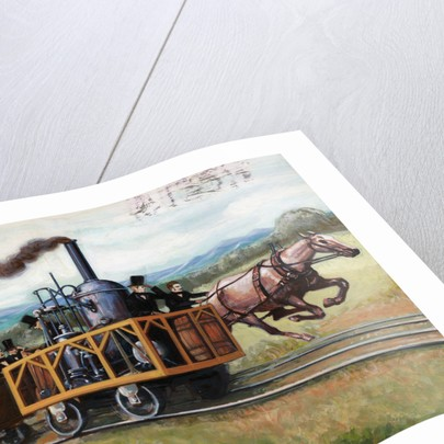 Illustration of a Race Between a Locomotive and a Horse-Drawn Car by Corbis