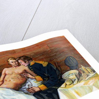 Illustration of Dr. William Beaumont Inserting Tube In Alexis St. Martin's Torso by Corbis