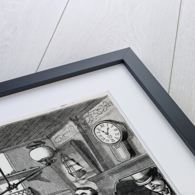 Illustration of Robber Holding Up Broker's Office by Corbis