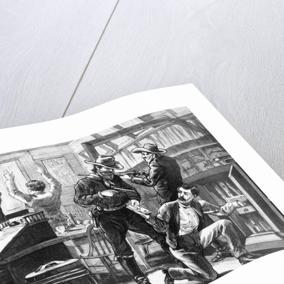 Illustraiton of a Holdup in a Western Store by Corbis
