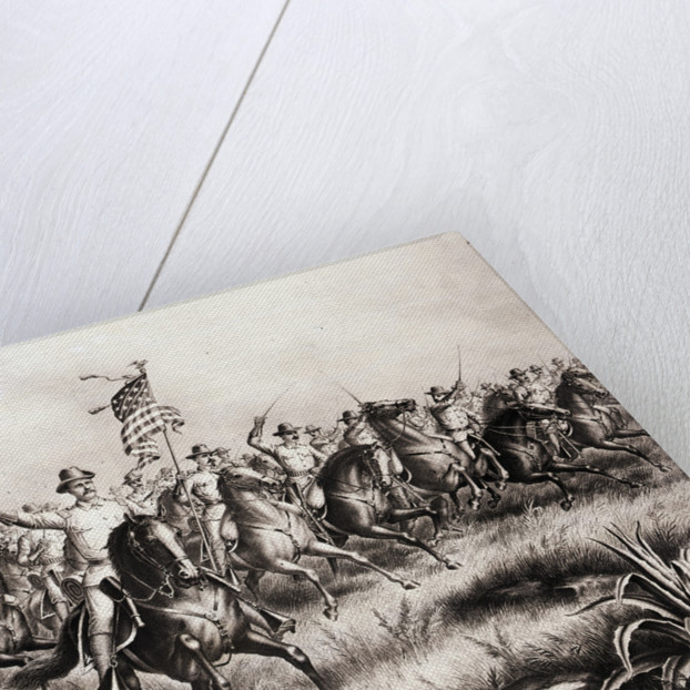 Lithograph of Theodore Roosevelt and the Rough Riders Charging San Juan Hill by Corbis