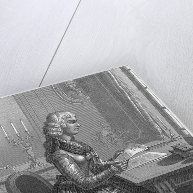Engraving of Jean-Marie Roland Seated at Desk by Corbis