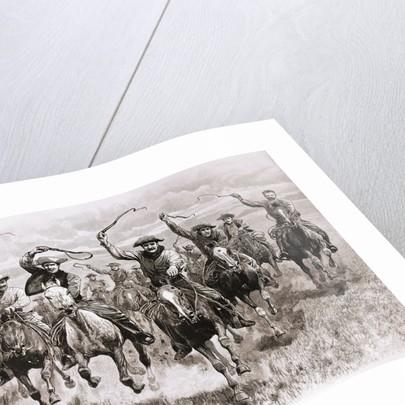 The Cowboy's Race Woodcut by Corbis