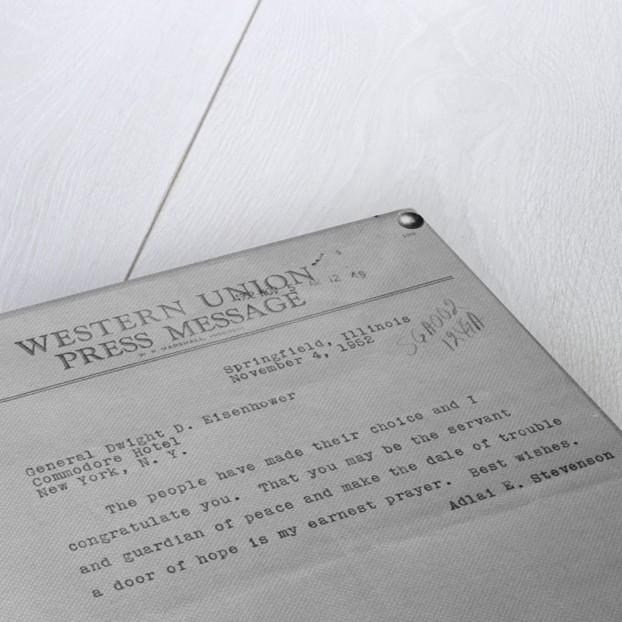 Congratulatory Telegram To Eisenhower by Corbis