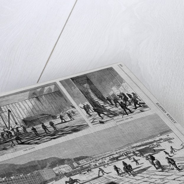 Cutting the Ice-West Side of the River, Above Rondout. The Ice Crop on the Hudson, 1874 by Corbis