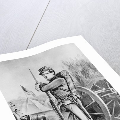 Sketching of Soldier Propped with Rifle by Corbis