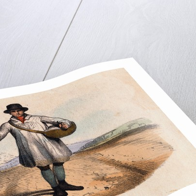 Illustration Depicting a Farmer Sowing a Field by Hand by Corbis