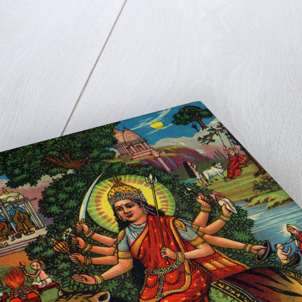 Indian Goddess Durga on Picturesque Background by Corbis