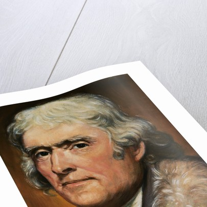 Drawing of Thomas Jefferson Wearing Fur Collared Coat by Corbis