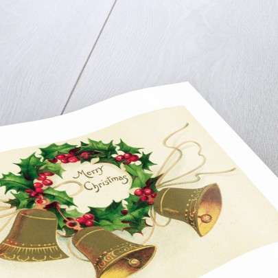 Christmas Card with Wreath of Holly and a Trio of Bells by Corbis