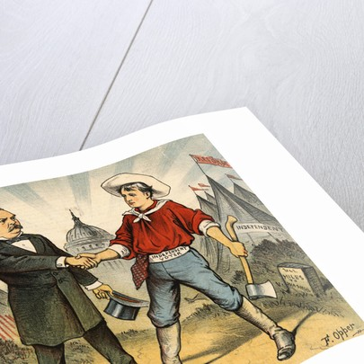 Illustration of Grover Cleveland Making Friends with Citizen by Corbis