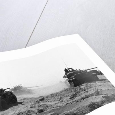 Israeli Tanks Riding Through Egyptian Desert by Corbis