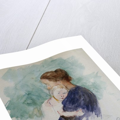 Watercolor of Mother and Child by Mary Cassatt