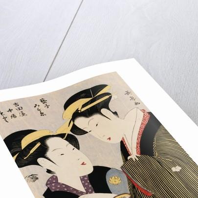 Double Half-Length Portrait of Moto, a Maidservant of the Yoshidaya and the Geisha Mizue by Momokawa Choki