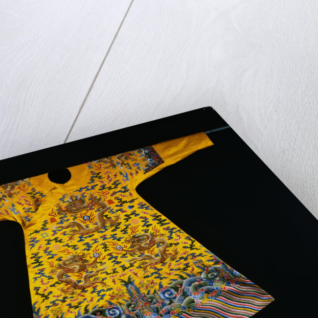 A Rare Imperial Embroidered Yellow Silk Twelve Symbol Dragon Robe, Ji Fu, from the Qianlong Period by Corbis