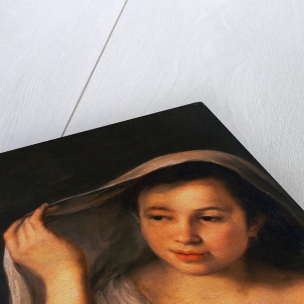 A Young Girl Raising Her Veil by Bartolome Esteban Murillo