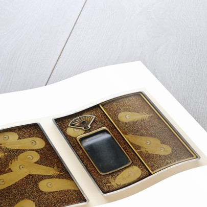 Lacquer Namban Suzuribako Decorated in Gold, Silver, Red and Black, with the Interior of the Cover Decorated with Feathers Scattered on a Gyobu-Nashiji Ground by Corbis