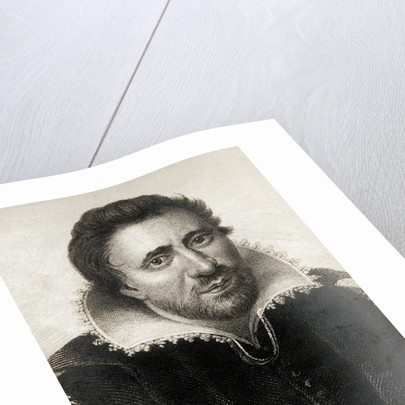 Detail of a Printed Portrait of Ben Jonson by Corbis