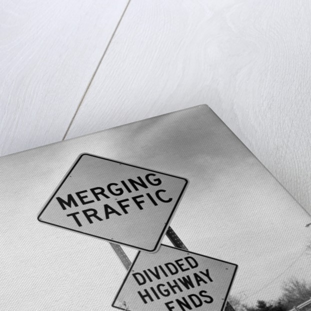 Merging Traffic Road Sign by Corbis