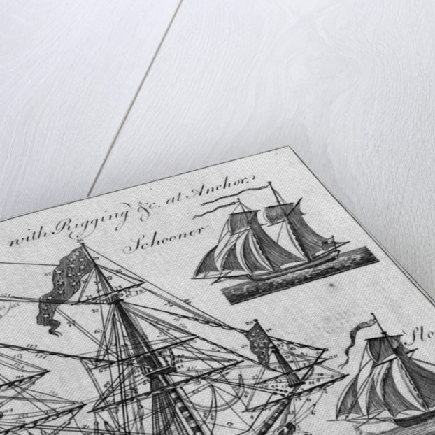 Illustration of Ship of War with Rigging by Corbis
