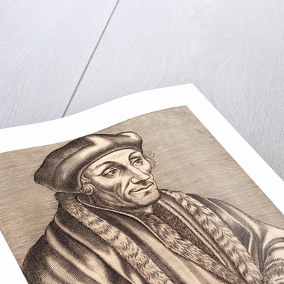 Illustration of Scholar Erasmus Desiderius with Book in Hand by Corbis